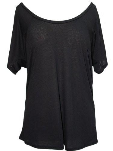 YogaColors Crystal Flowy Raglan Dolman Scoop Neck Tee Top (X-Large, Black)