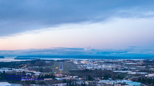 An Aerial Photograph of Paine Field on Final at Sunset...