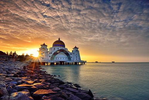 morning sunset sea wallpaper sky sun seascape beach architecture clouds sunrise reflections photography seaside nikon asia background minaret awesome horizon fineart mosque malaysia filters malacca sunstar singhray leefilter straitsmosque nikon1635mmf4vr iamnikon nikond750