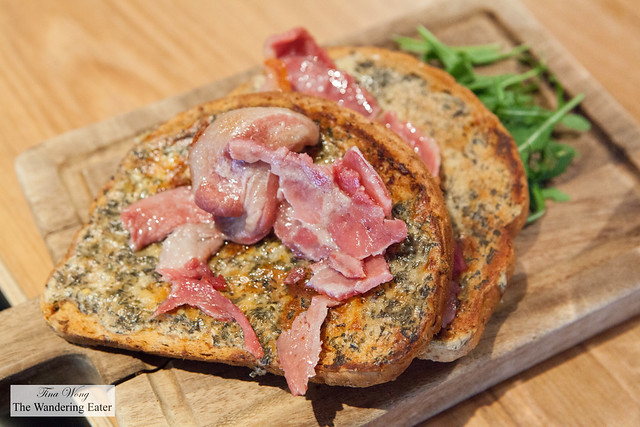 Welsh rarebit with Collier's cheddar and bacon on laverbread at Ffresh Bar at Millenium Centre