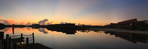 chadsparkesphotography centralflorida clouds sky sunlight scenic sunrise sevenseaslagoon water waltdisneyworld wdw reflections silhouettes polynesianresort disneyspolynesianvillageresort disneyspolynesianresort disney disneyworld appleiphone5c iphonecamera iphonese panaramic panaroma panoramic pano