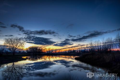 winter sunset lake reflection pond sorgho whisperingmeadows