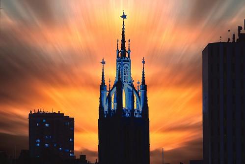 city uk sunset england sky orange tower church newcastle cityscape view cathedral tyne vista stnicholas lantern