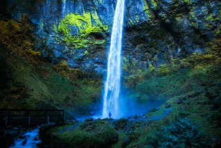 Person Standing in front of Elowah Falls in Oregon by Michael Matti | by Michael Matti
