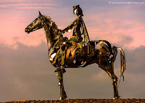 irishhistory gaelic horse horses ireland nineyearswar roscommon countyroscommon boyle war warfare outdoor outside sculpture metal