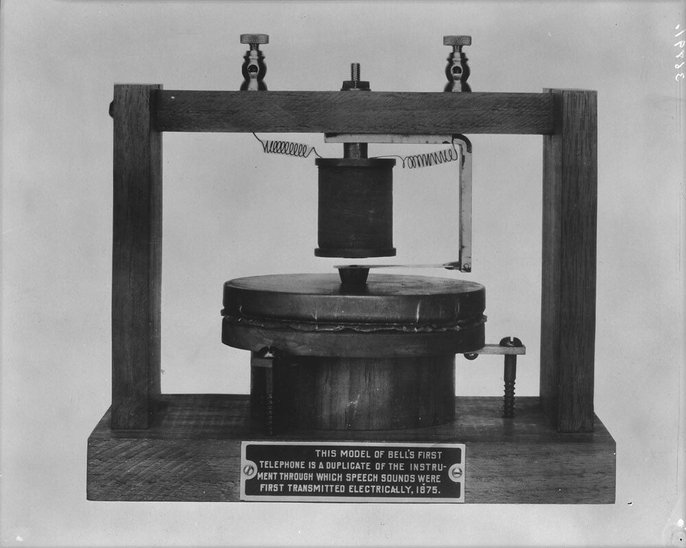 1876-03 | A model of Bell's first telephone (Source: Library