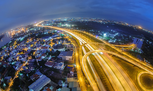 travel light night landscape curves vietnam hochiminhcity
