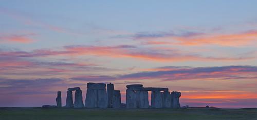 pink blue sunset red orange beautiful horizontal landscape purple magenta stonehenge colourful lovely