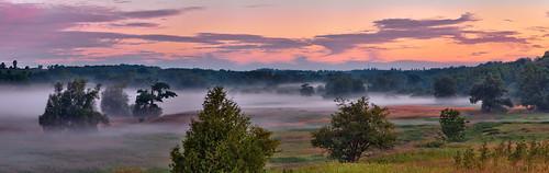 dawn fog panorama goldenhour landscape river mist morningmist grandriver elora ontario canada olympusomdem5 oloneo microsoftice gimp