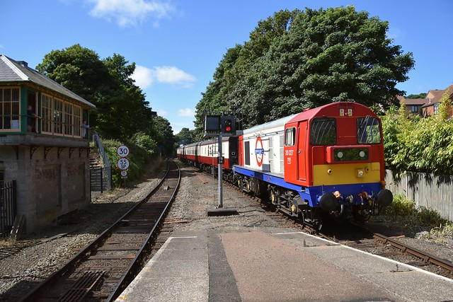 LT liveried 20227 hauls the North Norfolkman inaugral service into Cromer Station, past the now preserved Signal Box. 10 08 2016