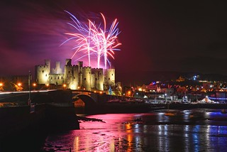 Christmas Eve fireworks over Conwy Castle