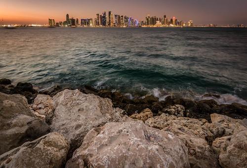 park sunset water skyline museum cafe cityscape middleeast mia bluehour doha qatar arabiangulf persiangulf miapark dohaskyline museumofislamicartpark