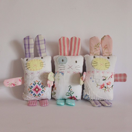 Bunny softies vintage embroideries