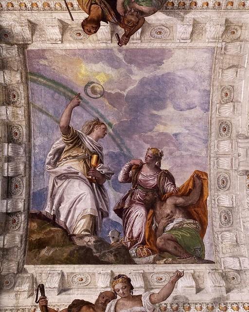Paolo Veronese, Villa Barbaro, Maser, Nächstenliebe und Glaube führen einen Sterlichen in die himmlische Ewigkeit (Mortal Man Guided by Chrity and Faith  to Divine Eternity)