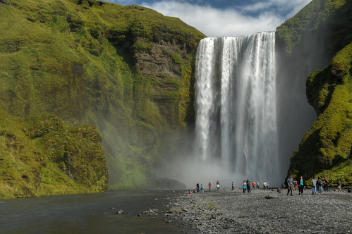 travel vacation people nature clouds landscape waterfall iceland nikon day cloudy outdoor south falls hdr d300 skogafoss landscapephotography 18200mm photomatix skógafoss
