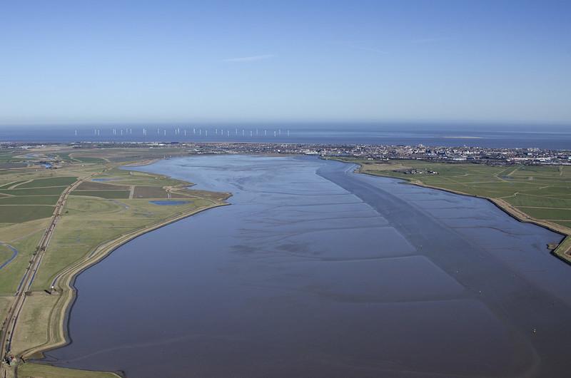 Breydon Water at high tide aerial