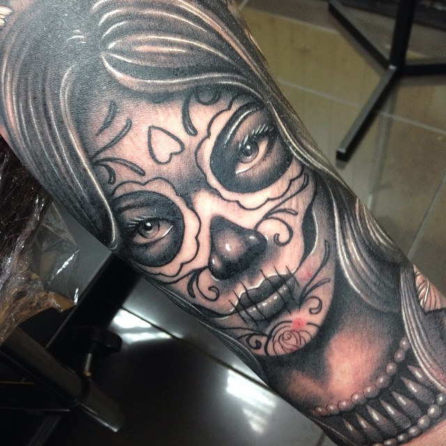 4b79f47fc97ab ... Day of the dead girl sleeve. Tattoo by Craig Holmes @ iron horse tattoo  studio