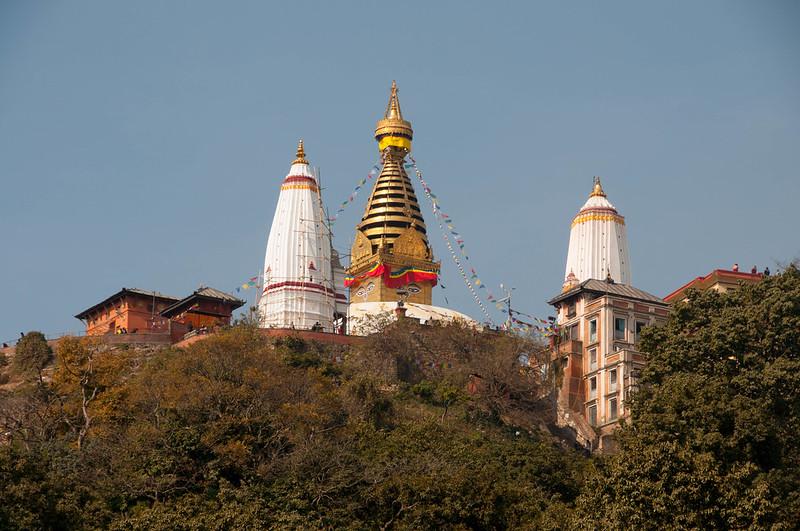 Svayambhunath Stupa on top of the hill