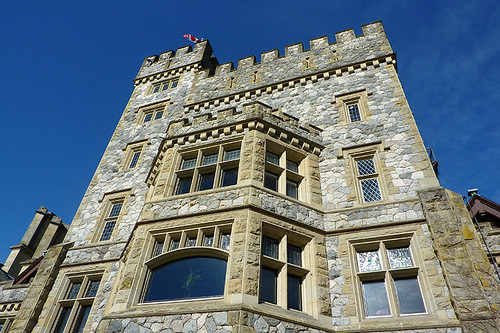 Hatley Castle at Royal Roads University in Colwood, Greater Victoria, Vancouver Island, British Columbia