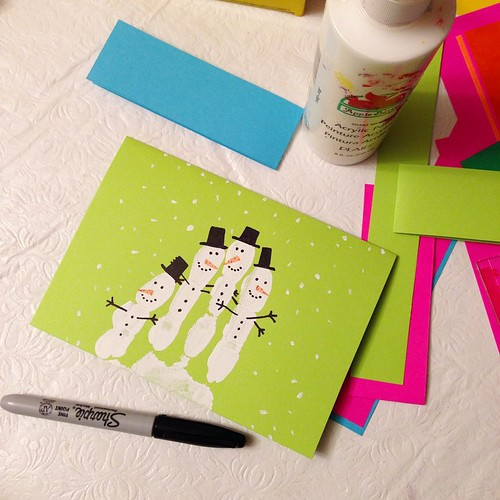 Day #11 Advent: Let's make Christmas cards! (Yes, I am almost 40 & that is my handprint.) And thank you, Pinterest, for all the fun ideas! #christmascard #crafty #balloonadvent #kids #snowman | by whimsylove
