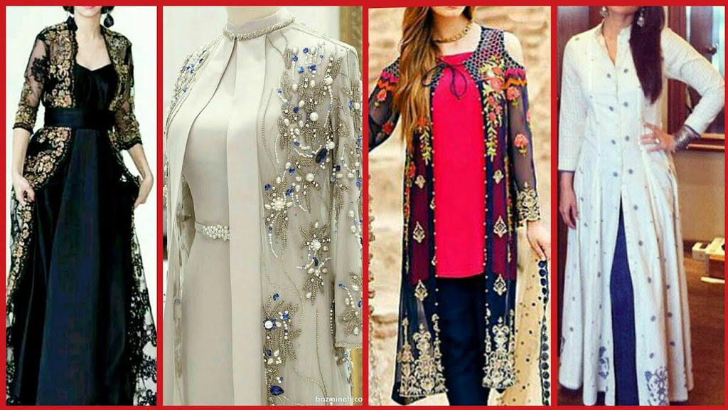12b97f338ac ... Latest Gown Style Open Shirt Casual Party wear Dress Designs 2018 - Top  Stylish Open Shirts