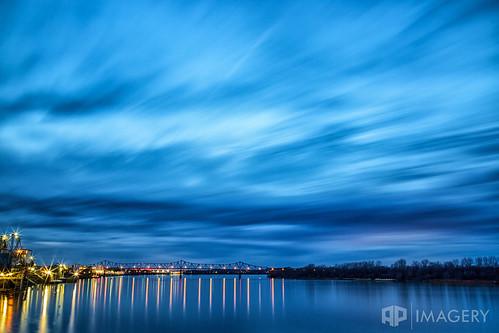 longexposure blue ohioriver brudge exposure long lte twilight owensboro downtown kentucky night clouds