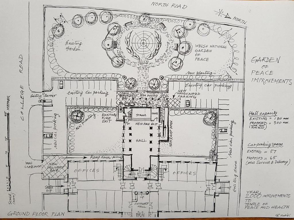 schematic of millennium improvements plan - temple of peace & peace  garden | by cymrudrosheddwch -