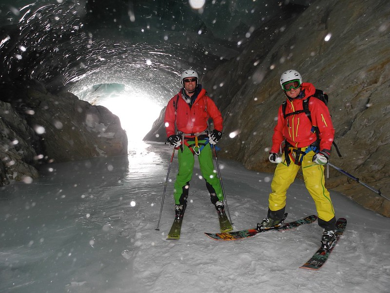 We move in a wild mountain environment. Here are the boys in a glacial tunnel. Sadly, this has now gone, a casualty of climate change.