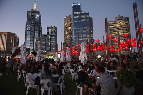 Red lanterns and skyline, Melbourne | by Joe Lewit