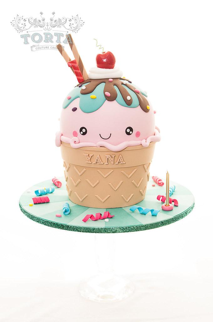 Surprising Kawaii Ice Cream Cone Birthday Cake A Kawaii Inspired Gian Flickr Funny Birthday Cards Online Sheoxdamsfinfo