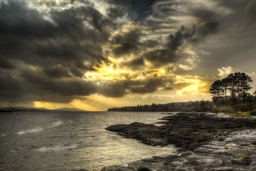 storm tree clouds landscape rocks dramatic atlantic
