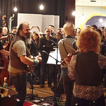 Thu, 26/02/2015 - 2:34pm - Steve Earle and The Dukes (Kelly Looney on bass, Will Rigby on drums, Chris Masterson on guitar, Eleanor Whitmore on fiddle and vocals) perform for FUV with an audience of Marquee Members. Hosted by Russ Borris. Photo by Gus Philippas