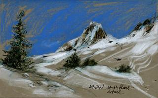 Mt Hood, Oregon. South flank, drawn sitting on a tufa boulder | by Laura Frankstone