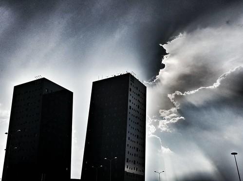 Rays of Light  #fieramilano #nh #Rays #light #clouds #cloudporn #sky #Weather #Storm #rain #contrast #blue #building #modern #black #beautiful #igers #igersitalia #igersmilano #Day #instagood #follow #followme #likesforfollow | by Mario De Carli