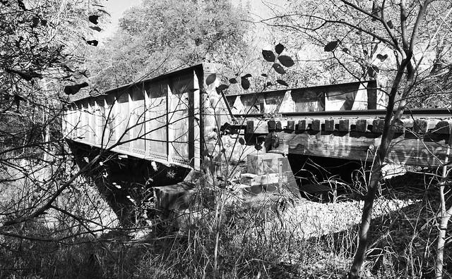 Pony Girder Railroad Bridge over Cottonwood Creek, Allen, Texas 1411261358bw