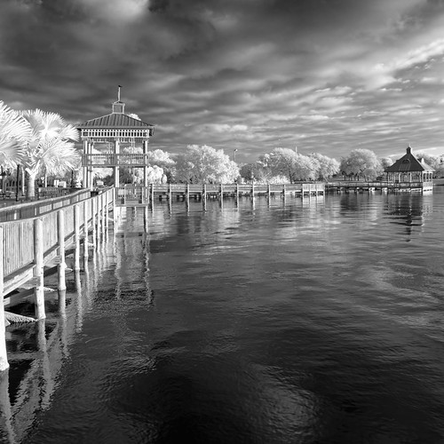 architecture bw blackandwhite buildingandarchitecture centralflorida cityscape cloud cloudy cocoa edrosack florida ir infrared landscape monochrome othermanmade panorama plant river sidewalk sky tree usa water buildings calm dock fence path structures reflection flickrexplore manmade weather edrosackcom
