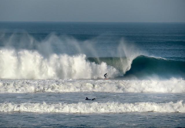 Surfers in High Surf. Ocean Beach, San Francisco; January 25, 2015