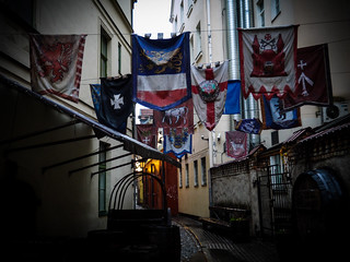 Flags in a street