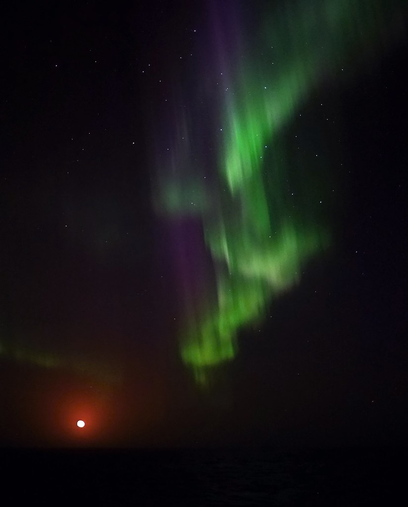 aurora over the moonrise