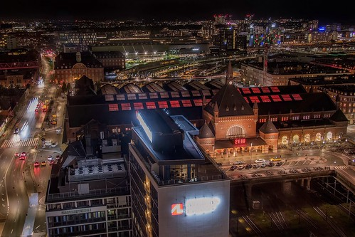 travel nikond5300 station night københavn copenhagen aerial train cityscape longexposure view centralstation