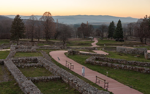 park sunset landscape ancient hill bulgaria fortress settlement pernik