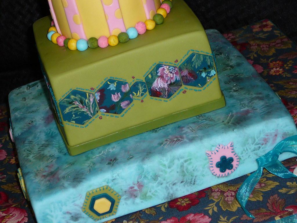 Wondrous Floral Batik Birthday Cake Cake Doctor Llc Lise R Bonin Ph D Funny Birthday Cards Online Chimdamsfinfo
