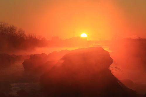 mist fog sunrise river earlymorning 多摩川 朝日 朝霧