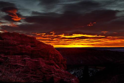 morning red sky orange clouds sunrise dark landscape dawn colorado denver redrocks morrison
