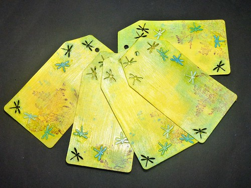 dragonfly cardstock colored handmade tags set