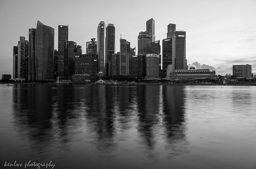 city longexposure urban bw reflection water monochrome architecture mono blackwhite singapore gr ricoh ricohgr kenleung kenlwc