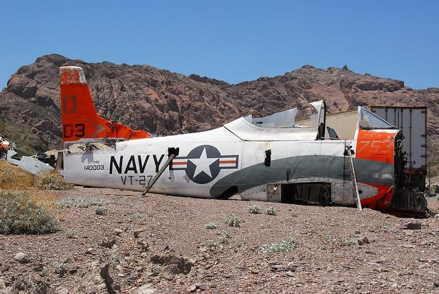 T-28B Trojan 140003/D-753 ex VT-27 U.S.Navy. Stored/ Dismantled, Nelson, Nevada. 07-06-2016.