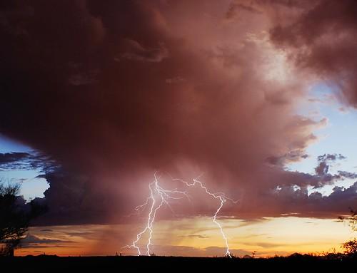sunset summer arizona desert tucson monsoon thunderstorm lightning