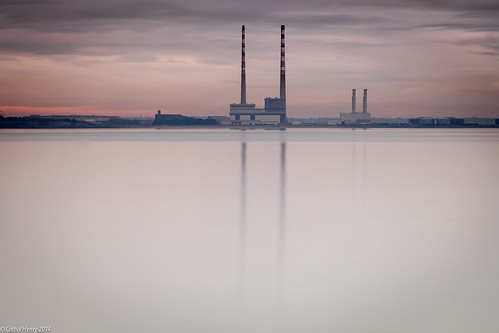 ireland sky dublin mist reflection water station wall sunrise bay long exposure power south docklands milky chimneys poolbeg