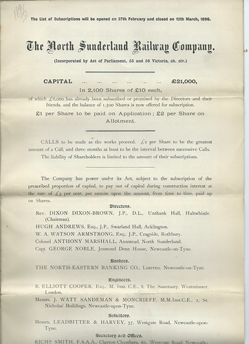 North Sunderland Railway Prospectus 1896   by ian.dinmore